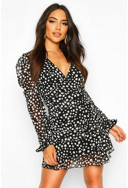 Black Dalmation Spot Print Ruched Dress