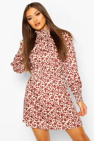Berry Woven Shirred Neck And Cuff Printed Shift Dress