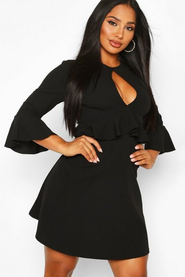 Black Scuba Ruffle Detail Frill Skater Dress