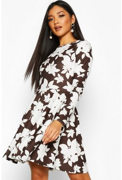Womens Black Scuba Floral Print Open Back Skater Dress