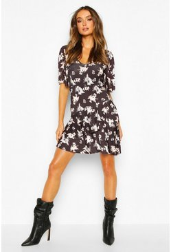 Womens Black Floral Slinky Angel Sleeve Ruffle Hem Skater Dress