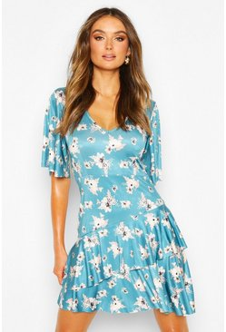 Blue Floral Slinky Angel Sleeve Ruffle Hem Skater Dress