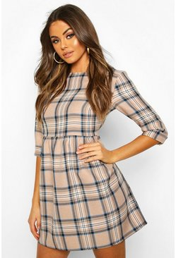 Stone Tonal Check 3/4 Sleeve Smock Dress