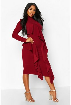 High Neck Ruffle Front Midi Dress, Berry