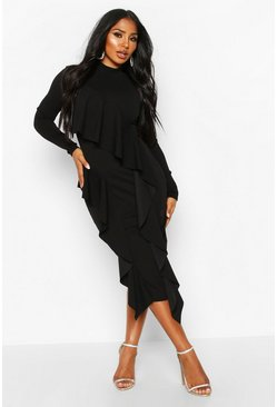 High Neck Ruffle Front Midi Dress, Black