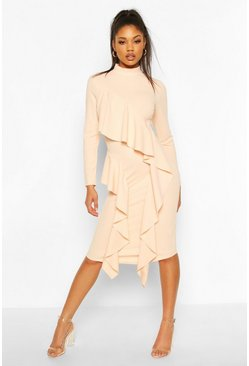 High Neck Ruffle Front Midi Dress, Blush