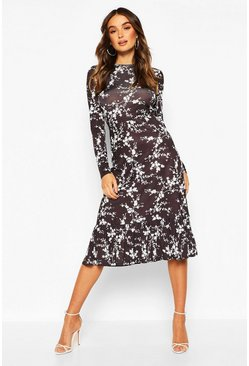 Black Floral Slinky Long Sleeve Open Back Midi Dress