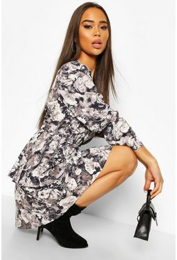 Grey Satin Floral Tiered Puff Sleeve Skater Dress