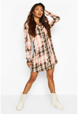 Tan Bleach Check Print Shirt Dress