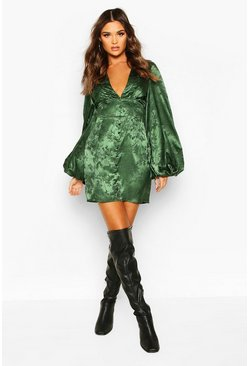 Green Jaquard Satin Plunge Blouson Sleeve Mini Dress