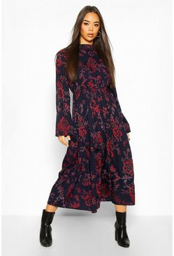 Navy Floral Paisley High Neck Midi Dress