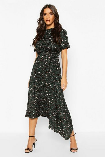 Green Leopard High Neck Angel Sleeve Asymmetric Midi Dress
