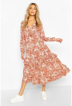 Rust Autumnal Floral Ruffle Midi Tea Dress