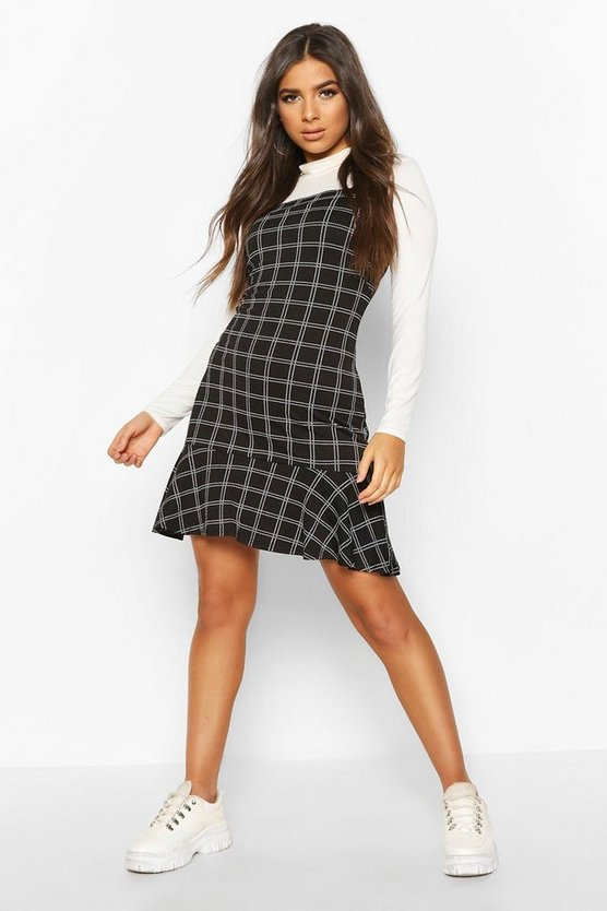 Womens Black Check Frill Hem Pinny Dress