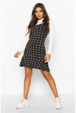 Check Frill Hem Pinny Dress, Black
