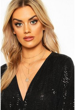 Gold Plus Layered Coin & Bar Chain Choker Necklace