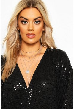 Silver Plus Layered Coin & Bar Chain Choker Necklace