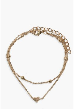 Gold PLus Heart Simple Layered Anklet