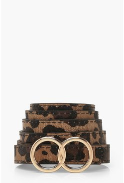 Plus Leopard Double Ring Skinny Belt, Natural
