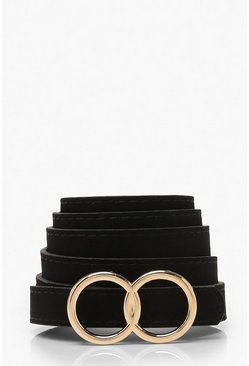 Plus Suedette Double Ring Skinny Belt, Black