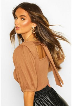 Camel Deep Ribbed Tie Back Volume Puff Sleeve Top
