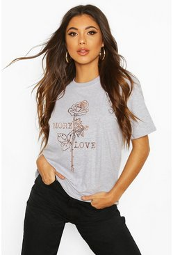 Womens Grey Rose Slogan Foil Print T-Shirt