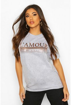 L'amour Slogan Foil Print T-Shirt, Grey