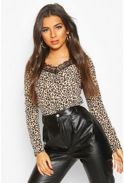 Womens Brown Leopard Ribbed Lace Hem Long Sleeve Top