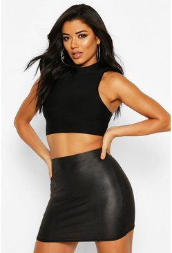 Wet Look Mini Skirt, Black, DAMEN