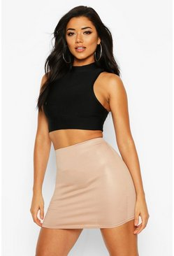 Sand Wet Look Mini Skirt