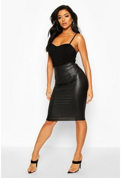 Wet Look Midi Skirt, Black, DAMEN