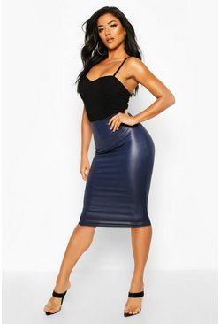 Navy Wet Look Midi Skirt