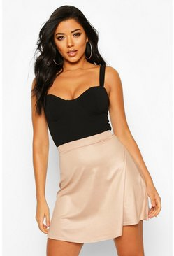Wet Look Skater Skirt, Sand