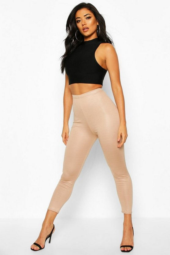 Sand High Waist Cropped Wet Look Legging