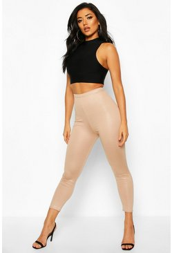 Womens Sand High Waist Cropped Wet Look Legging