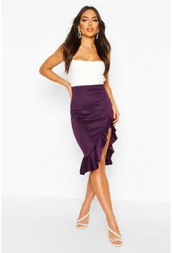 Plum Ruffle Split Midi Skirt