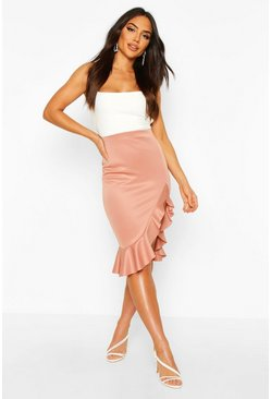 Rose Ruffle Split Midi Skirt