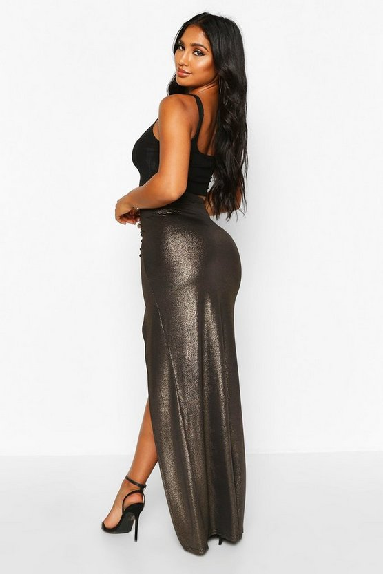 Glitter Jersey Ruched Extreme Split Maxi Skirt