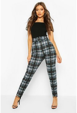 Tartan Check Belted Jersey Trousers, Black, FEMMES