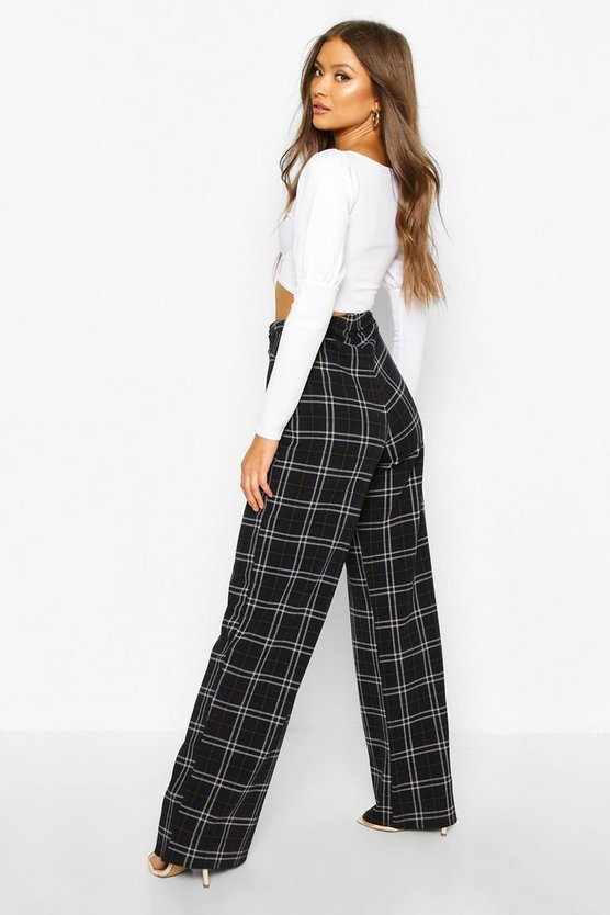 Tartan Check Belted Wide Leg Trousers