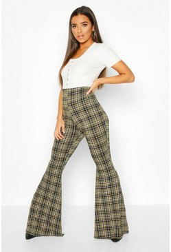 Tartan Check Jersey Flares, Bottle green