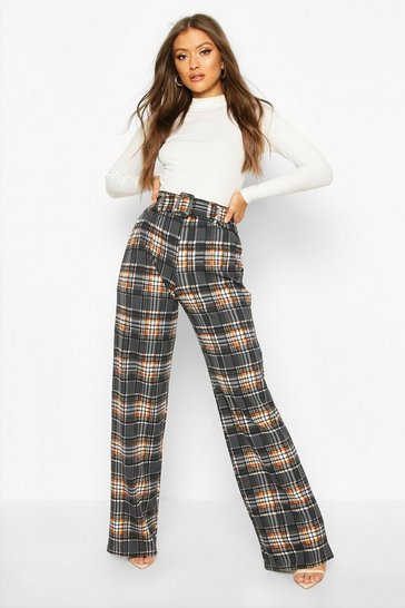 Womens Grey Checked Belted Wide Leg Trouser