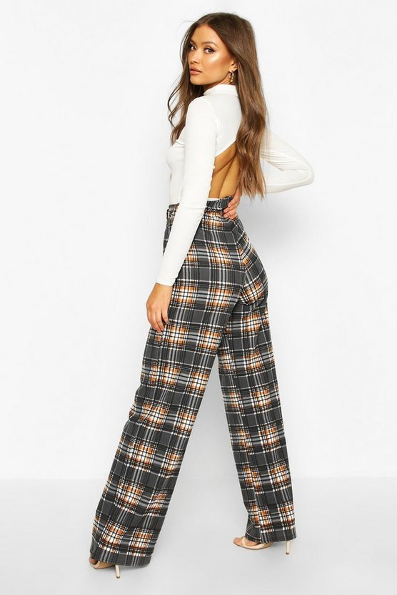 Checked Belted Wide Leg Trouser
