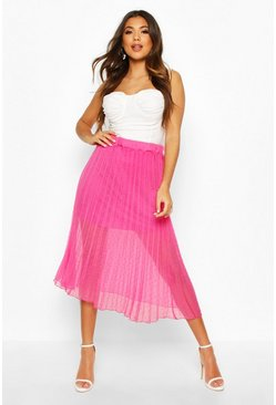Dobby Mesh Pleated Midi Skirt, Berry, FEMMES