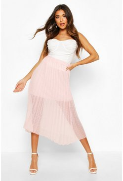 Dobby Mesh Pleated Midi Skirt, Blush