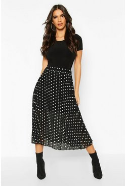 Polka Dot Pleated Midi Skirt, Black, MUJER