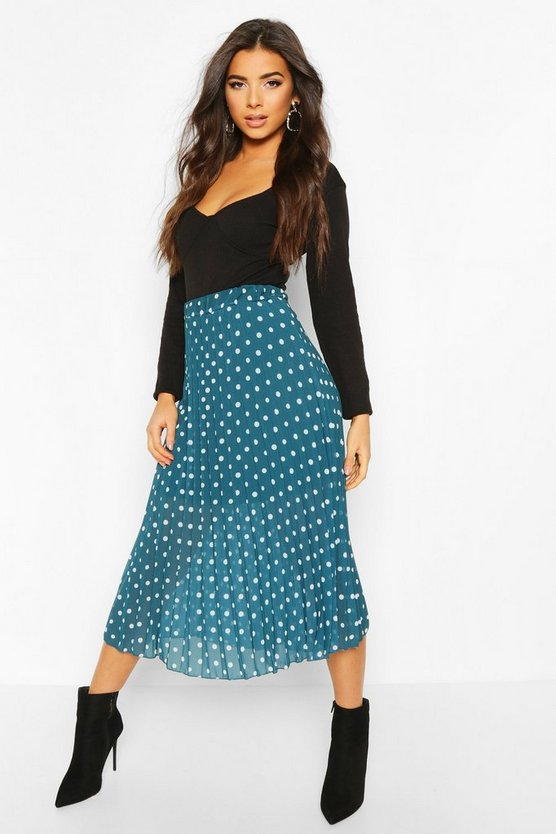 Teal Polka Dot Pleated Midi Skirt