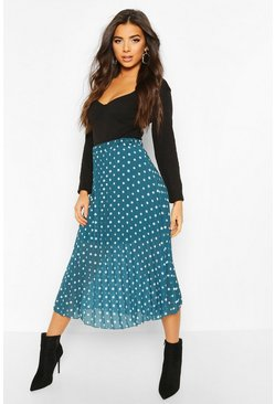 Polka Dot Pleated Midi Skirt, Teal