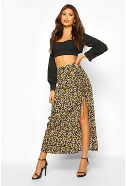 Mustard Ditsy Floral Tie Detail Midaxi Skirt