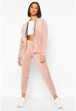 Womens Blush Velour Tracksuit